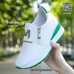 รองเท้าผ้าใบเสริมส้น วัสดุ pu เนื้อหนานุ่ม แต่งซิปคู่ด้านหน้ รูปเล็กที่ 1