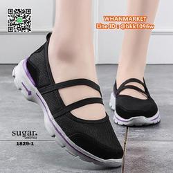 รองเท้าผ้าใบลำลอง ทำจากผ้ายืดตาข่าย มีสายยางยืดรัด รูปเล็กที่ 3