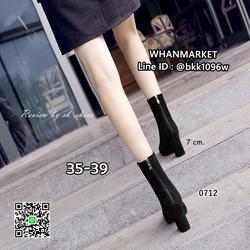 รองเท้าบูทส้นสูง วัสดุหนังกำมะหยี่นิ่ม สไตล์เกาหลี ซิปหลัง รูปเล็กที่ 3