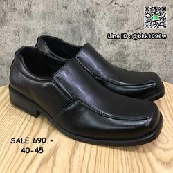 รองเท้าคัชชูหนัง สีดำ ผู้ชาย แบบสวม ทรงสุภาพ วัสดุหนังPU  รูปเล็กที่ 3