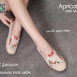 รองเท้าคัชชูลำลอง ทรงเอสพราดิล วัสดุหนังกลับนิ่มปักดอกไม้  รูปเล็กที่ 2