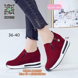 รองเท้าผ้าใบเสริมส้น วัสดุผ้ากำมะหยี่ แต่แถบเขียวแดง รูปเล็กที่ 1