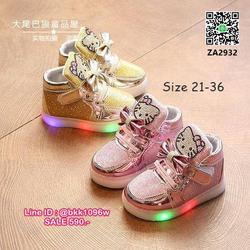 รองเท้าผ้าใบเด็กมีไฟ ไซส์ 21-36 ผ้าใบวิ้งๆ มีไฟวิบวับ