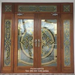 ประตูไม้สักบานเลื่อน ประตูไม้สักกระจกนิรภัย รูปเล็กที่ 5