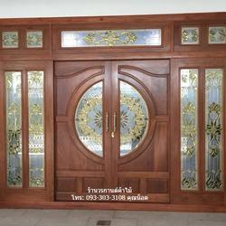 ประตูไม้สักกระจกนิรภัย รูปเล็กที่ 1
