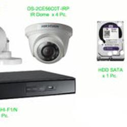 ชุด กล้องวงจรปิด hikvision ราคาถูก 1 ล้านพิกเซล 4 ตัว รูปเล็กที่ 1