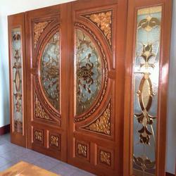 ร้านวรกานต์ค้าไม้ จำหน่าย ประตูไม้สักบานคู่กระจกนิรภัย ประตูโมเดิร์น ประตูไม้สักบานเลื่อน รูปเล็กที่ 6