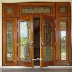 ประตูไม้สัก , ประตูไม้สักกระจกนิรภัย , ประตูหน้าต่าง ร้านวรกานต์ค้าไม้ door-woodhome รูปเล็กที่ 3