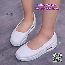 รองเท้าผ้าใบหนัง ทรงลำลองเสริมส้น 2 นิ้ว ทำจากหนัง pu นิ่ม  รูปเล็กที่ 2