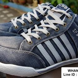 รองเท้าผ้าใบยีนส์หุ้มข้อ งานแฟชั่นผู้ชาย วัสดุผ้ายีนส์  รูปที่ 1