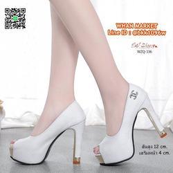 รองเท้าคัชชูส้นสูง 12 cm. เสริมหน้า 4 cm. วัสดุหนัง PU ปั้มล รูปเล็กที่ 1