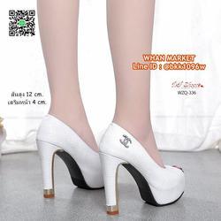 รองเท้าคัชชูส้นสูง 12 cm. เสริมหน้า 4 cm. วัสดุหนัง PU ปั้มล รูปเล็กที่ 4