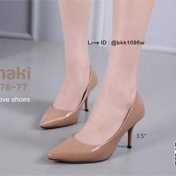 รองเท้าคัชชู ส้นสูง 3.5 นิ้ว หนังPUนิ่ม เงางาม ทรงหัวแหลม รูปเล็กที่ 1