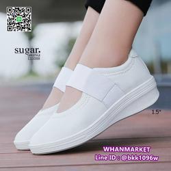 รองเท้าผ้าใบหนังเสริมส้น 1.5 นิ้ว วัสดุหนัง pu นิ่มมาก  รูปเล็กที่ 5