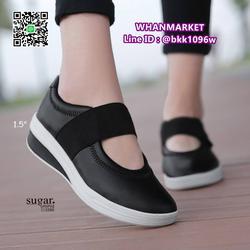 รองเท้าผ้าใบหนังเสริมส้น 1.5 นิ้ว วัสดุหนัง pu นิ่มมาก  รูปเล็กที่ 6