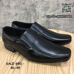 รองเท้าคัชชูหนัง สีดำ ผู้ชาย แบบสวม ทรงสุภาพ วัสดุหนังPU   รูปเล็กที่ 2