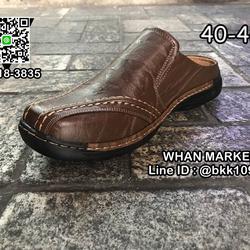 รองเท้าลำลองผู้ชาย วัสดุหนัง PU คุณภาพดี แบบเปิดส้น สวมใส่ง่ รูปเล็กที่ 2