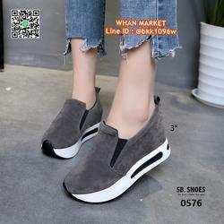 รองเท้าผ้าใบเสริมส้น สูง 3 นิ้ว สไตล์เกาหลี วัสดุหนังสักกะหล รูปเล็กที่ 2