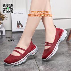 รองเท้าผ้าใบลำลอง ทำจากผ้ายืดตาข่าย มีสายยางยืดรัด รูปเล็กที่ 1