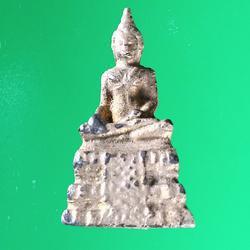 5582 รูปหล่อพระพุทธ ฐานสูง เนื้อตะกั่ว ปิดทองเก่า ไม่ทราบที่