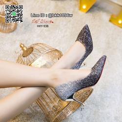 รองเท้าคัชชูส้นสูง 3 นิ้ว วัสดุหนัง PU ประดับกริตเตอร์   รูปเล็กที่ 2