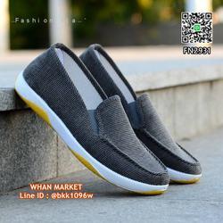 รองเท้าผ้าใบผู้ชาย ทรงสลิปออน วัสดุผ้าแคนวาสเนื้อลูกฟูกหนา รูปเล็กที่ 4