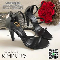 รองเท้าส้นสูง highheel 3 strap วัสดุเป็นหนังพียูเรียบ ส้นสูง 4 นิ้ว รูปเล็กที่ 1