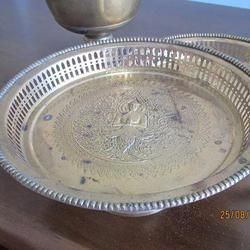 3787 เครื้องใช้ชุดทองเหลืองลาย เทพพนม มี ขัน พาน ทับพี ถาดสู รูปเล็กที่ 4
