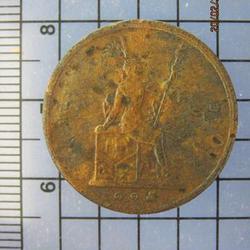 4273 เหรียญทองแดง 1อัฐ รศ.115 ตราพระสยามเทวาธิราช หัวไม่ตรงก รูปเล็กที่ 1