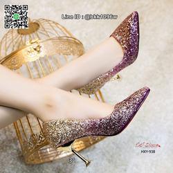รองเท้าคัชชูส้นสูง 3 นิ้ว วัสดุหนัง PU ประดับกริตเตอร์   รูปเล็กที่ 4