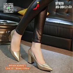 รองเท้าคัชชู ส้นแท่ง สูง 2.7 นิ้ว หัวแหลม วัสดุหนังแก้ว  รูปเล็กที่ 5