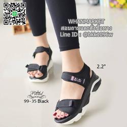 """รองเท้าลำลองส้นแบน วัสดุผ้าไมโครไฟเบอร์ พื้นพียูนิ่มๆ ดีเทลสายคาดหน้า สูง 2.2"""" รูปเล็กที่ 4"""