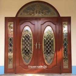 ประตูไม้สักบานเลื่อน ประตูไม้สักกระจกนิรภัย รูปเล็กที่ 2