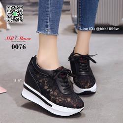 รองเท้าผ้าใบเสริมส้น วัสดุลูกไม้+หนัง PU แพลตฟอร์มเกาหลี  รูปเล็กที่ 4