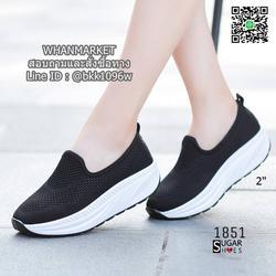 รองเท้าผ้าใบลำลอง เสริมส้น 2 นิ้ว วัสดุผ้าทอตาข่ายอย่างดี  รูปเล็กที่ 6