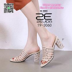 รองเท้าส้นแก้วสูง 3นิ้ว คาดหน้าแบบตาข่าย วัสดุpuนิ่มอย่างดี  รูปเล็กที่ 3