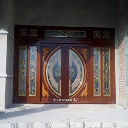 ประตูไม้สักกระจกนิรภัย รูปเล็กที่ 2