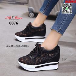 รองเท้าผ้าใบเสริมส้น วัสดุลูกไม้+หนัง PU แพลตฟอร์มเกาหลี  รูปเล็กที่ 1