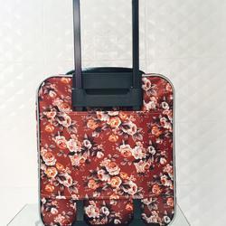 กระเป๋าเดินทางแบบผ้า ลายดอกไม้พื้นน้ำตาล ขนาด 16 นิ้ว รูปเล็กที่ 4