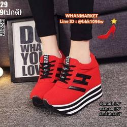 รองเท้าผ้าใบเสริมส้น 3.5 นิ้ว วัสดุผ้าอย่างดี แต่งลายด้วยหนั รูปเล็กที่ 1