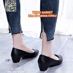 รองเท้าคัชชูสีดำ ส้นเหลี่ยม ส้นสูง 1.5 นิ้ว หนังPU อย่างดี  รูปเล็กที่ 1