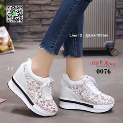 รองเท้าผ้าใบเสริมส้น วัสดุลูกไม้+หนัง PU แพลตฟอร์มเกาหลี  รูปเล็กที่ 3